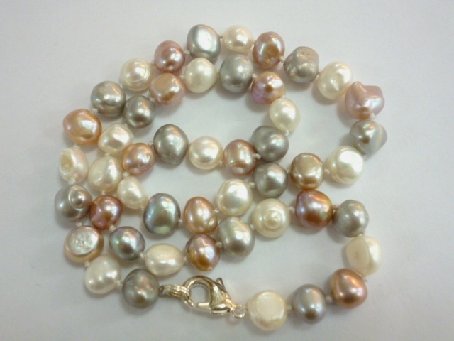 with silver pearl baroque necklace clasp cz large pearls multicolour