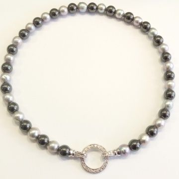 Grade A grey pearls & Hematite with CZ clasp