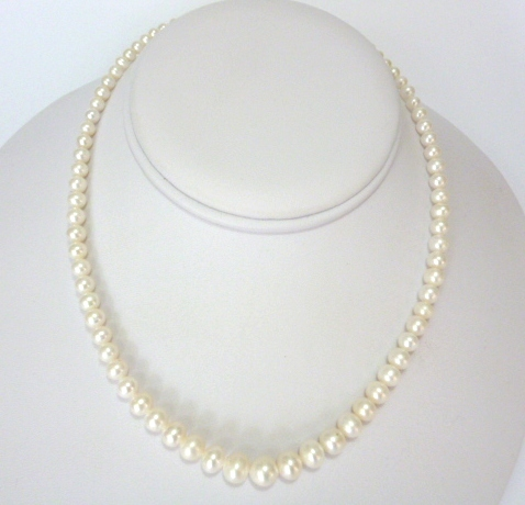 'Vintage' Style Graduated White Pearls OUT OF STOCK