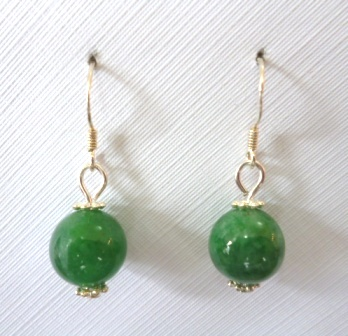 10mm Jade ball earrings on Sterling silver hooks