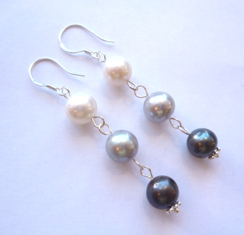 3 Colour Pearl Earrings on Silver