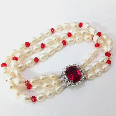 3 Row Pearl Bracelet with Swarovski Crystals