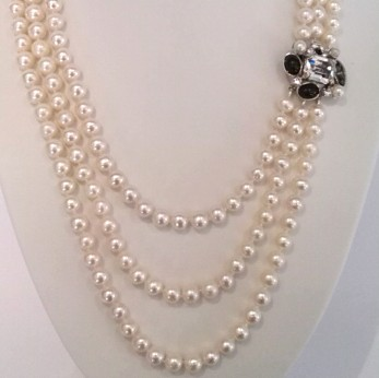 3 Row Pearl Necklace with Swarovski Crystal Clasp