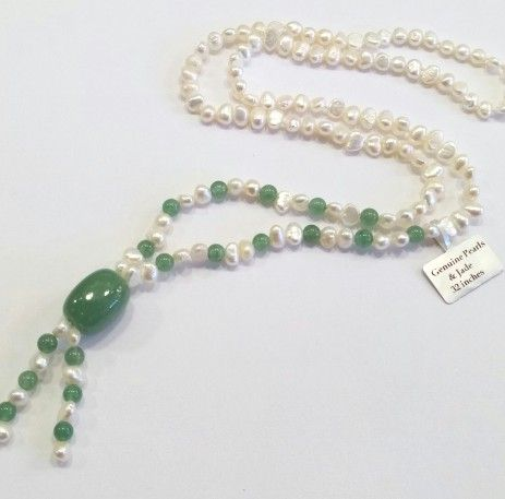 32-inch Baroque Pearls and Jade pendant