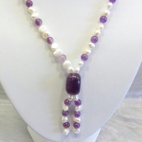 32-inch Baroque Pearls with Amethyst Pendant