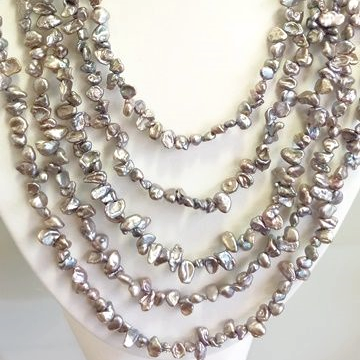 5 Row Necklace of Grey 'Keshi' Pearls