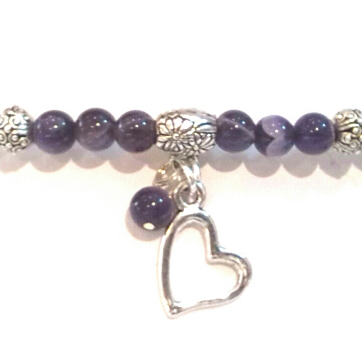 Amethyst Bracelet with Heart Pendant