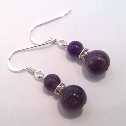 Amethyst double-drop earrings on silver hooks