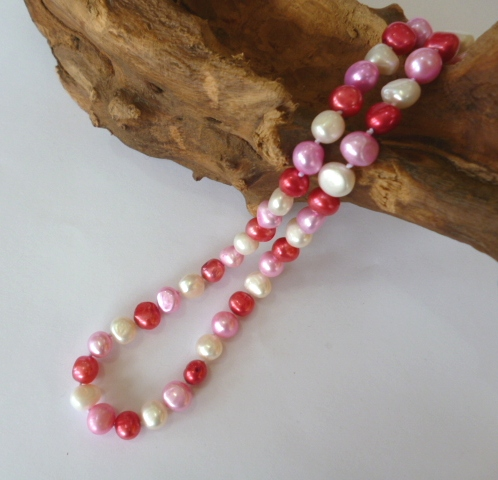 Baroque Pearl Necklace in White, Hot Pink and Fuchsia