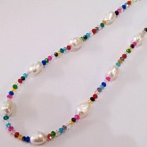 Baroque pearls on a multi-coloured crystal necklace.