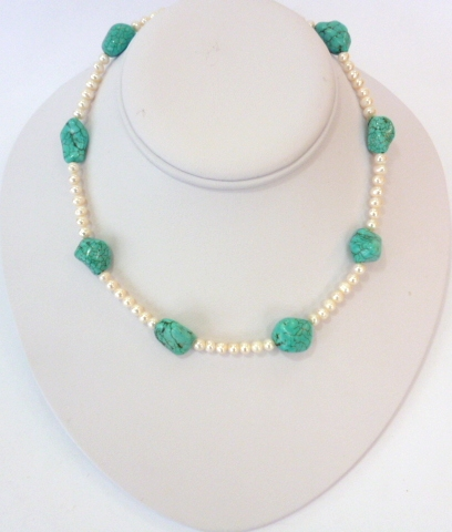 baroque turquoise and pearl necklace