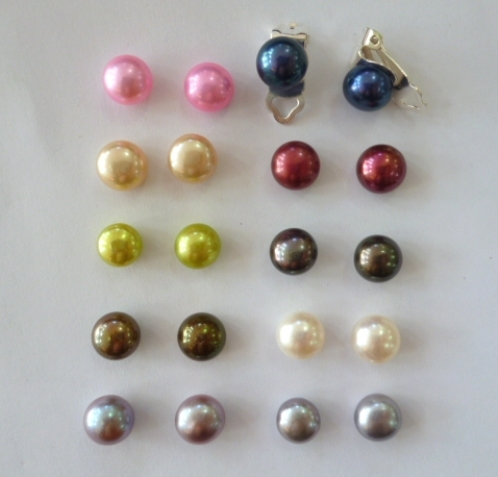 Clip-on pearls in a choice of great colours.