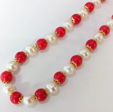 Coral and pearl necklace aloadofball Image collections