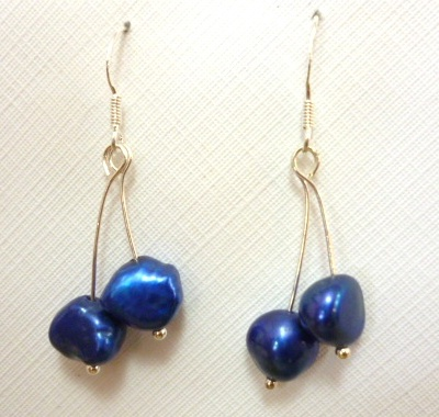 Double Drop Blue Pearl Earrings on Silver Hooks