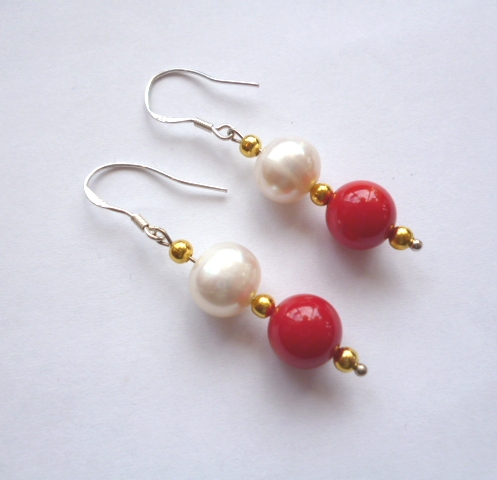 Double-drop pearl and coral ear-rings