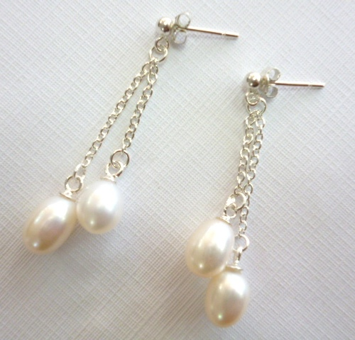 Double White Pearl 'French Drop' Earrings