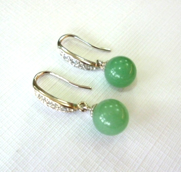Fine Quality Pale green jade earrings