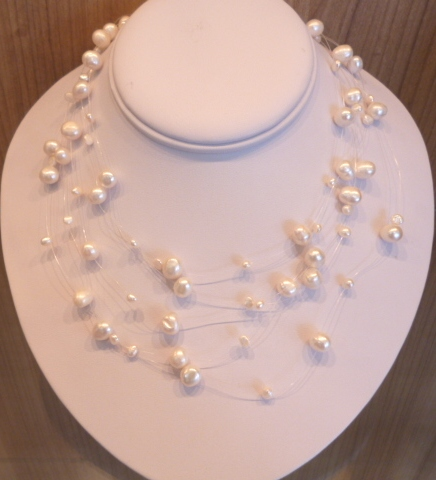 Gleaming White pearl 5-strand 'ILLUSION' necklace.
