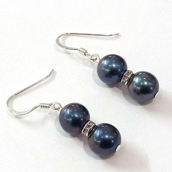 Grade A black (peacock) pearl double drop earrings