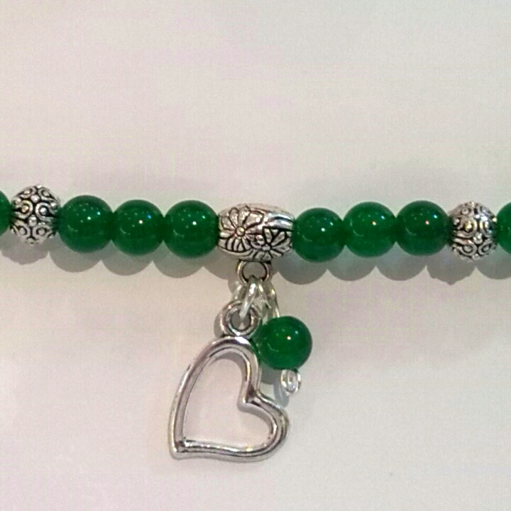 Green Jade Bracelet with Pendant Heart.