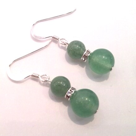 Jade double-drop earrings on silver hooks