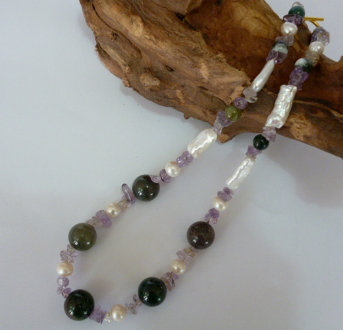 Jasper, Pearl and Amethyst necklace