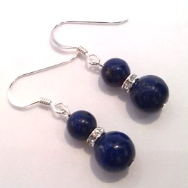 Lapis Lazuli double-drop earrings on silver hooks
