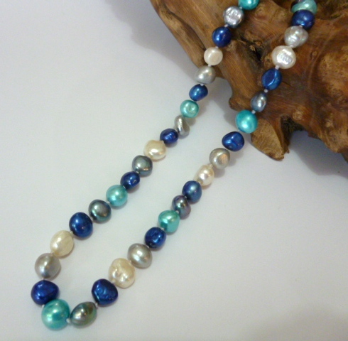 multi-colour baroque pearl necklace-blue and grey