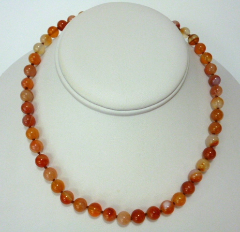 Multicoloured agate necklace (orange)