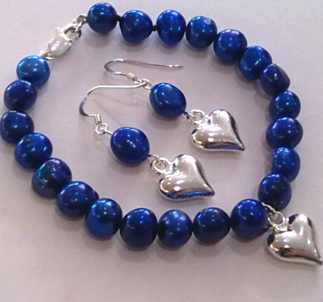 OUT OF STOCK Blue Baroque Pearl Bracelet with Pendant Heart