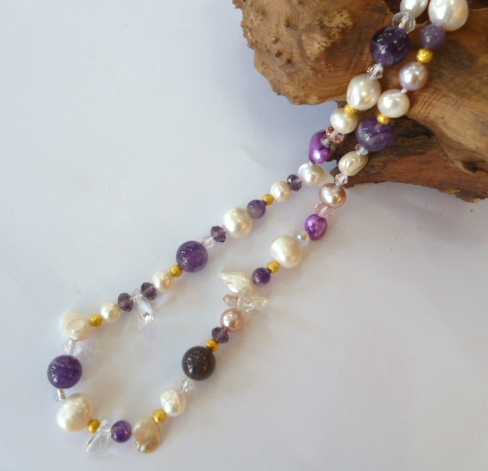 Pearl, Amethyst and Crystal necklace 20""