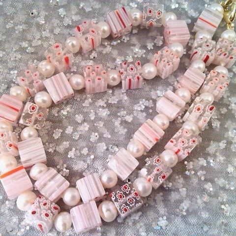 pearl and glass cube necklace (pink)