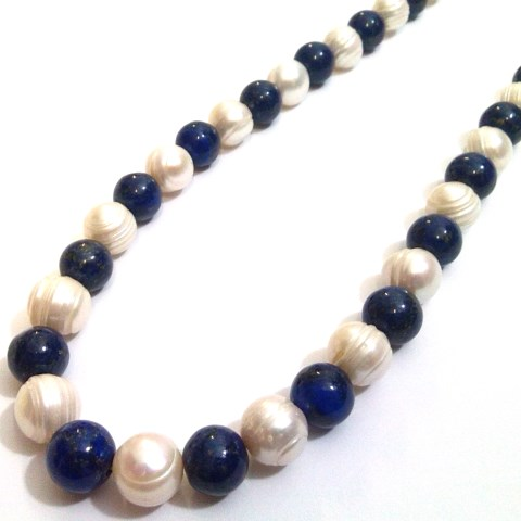 pearl and lapis lazuli necklace