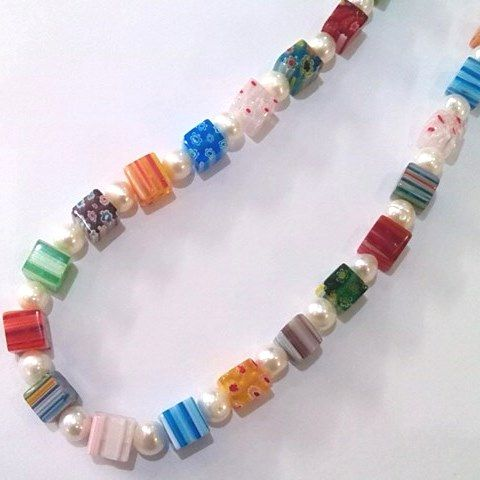 pearl and multicolour glass cube necklace