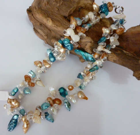 Pearl and Natural Crystal Necklace.