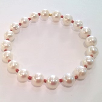 Pearl and Red Coral Bracelet
