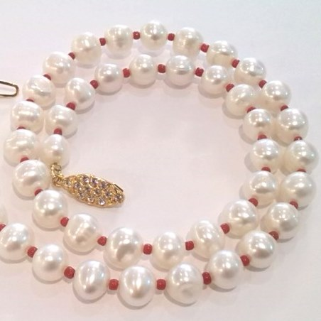 Pearl and Red Coral necklace with diamanté clasp.