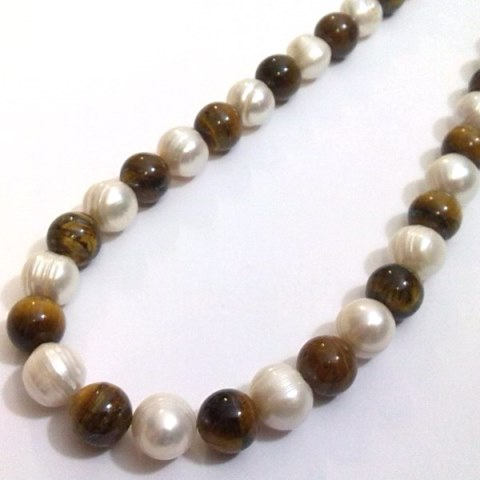Pearl and Tiger Eye necklace