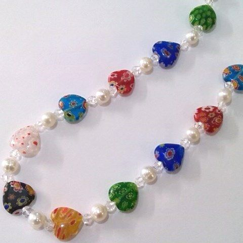 pearl and venetian glass heart neckalce