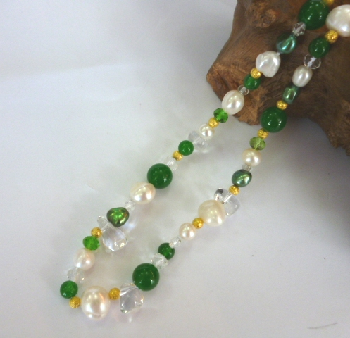 Pearl, Jade and Crystal necklace.