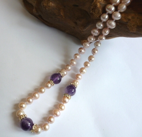 Pearl Necklace with featured Amethysts