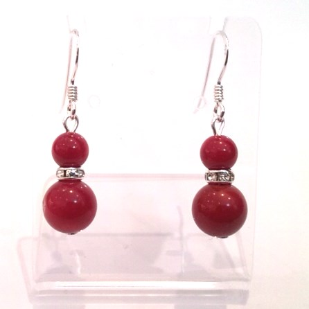 Red coral double-drop earrings on silver hooks