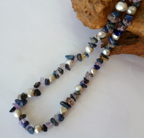 silver grey pearl and lapis lazuli necklace