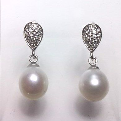 Sterling silver and CZ ear-rings with oval 'tear-drop' pearls.