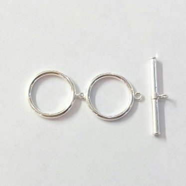Sterling silver double loop toggle clasp 15mm each loop