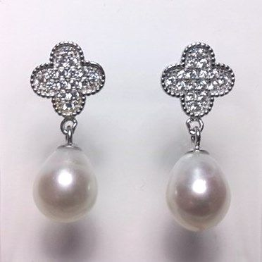 Sterling silver leaf/cross ear-rings with oval 'tear-drop' pearls.