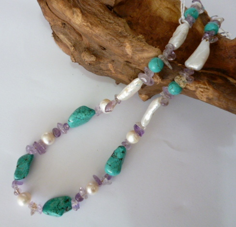 Turquoise, Pearl and Amethyst necklace