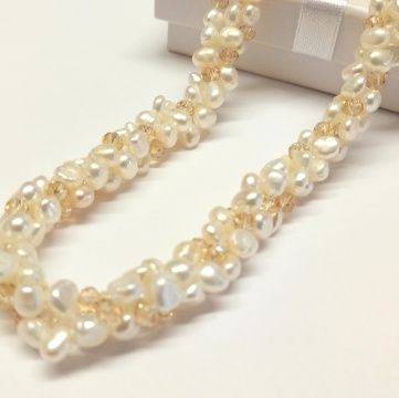 White Baroque Pearls with Champagne Crystals