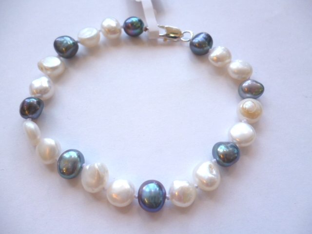 White, Ivory and Dark Grey Pearl Bracelet