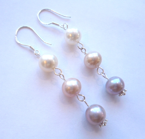 white, pink, lavender pearl drop earrings